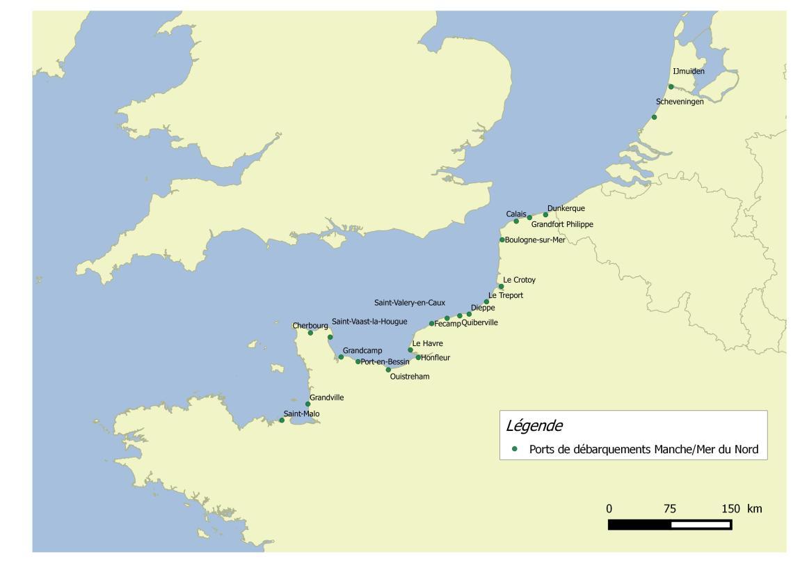 L'ensemble des ports de débarquements des adhérents du FROM Nord en Manche/Mer du Nord