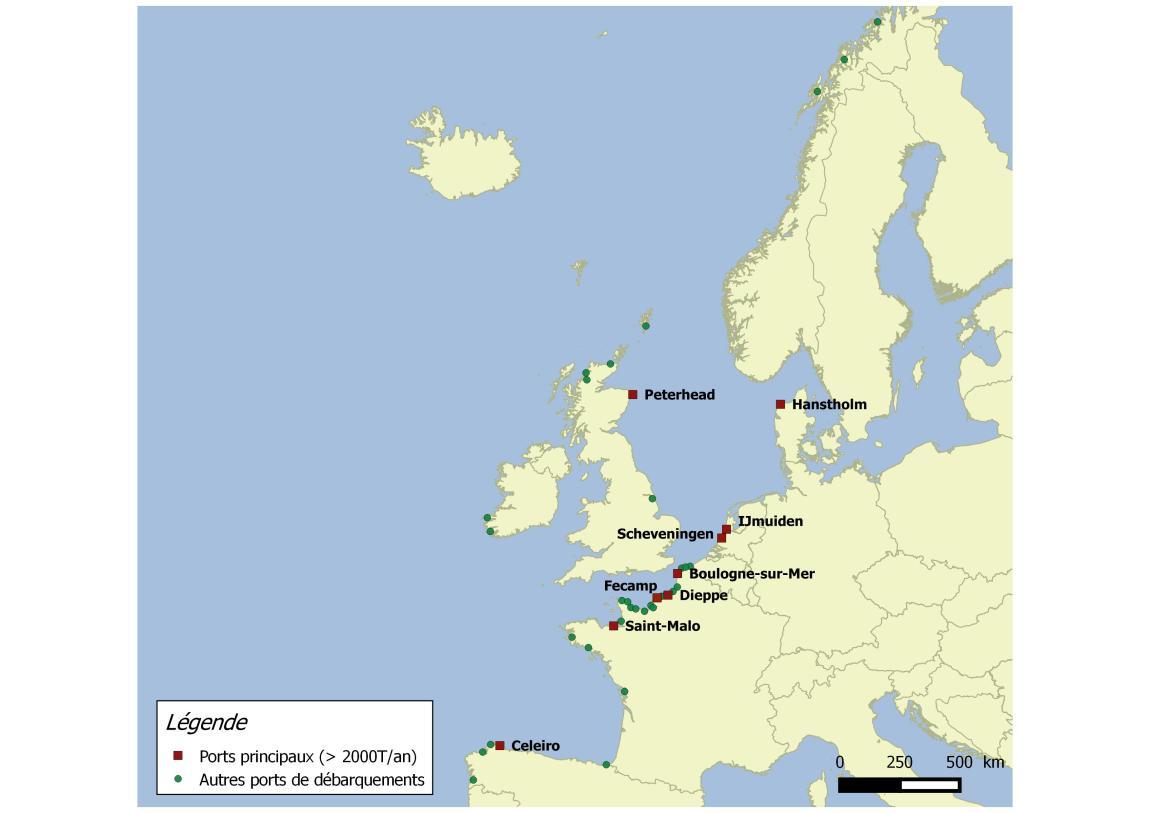 L'ensemble des ports de débarquements des adhérents du FROM Nord en Europe